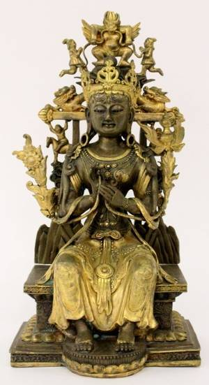 Tibetan Bronze Seated Buddhist Figure in Throne