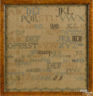 American silk on linen marking sampler early 19th c