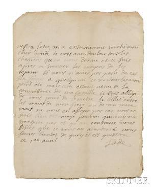 Marquis de Sade 17401814 Autograph Letter Signed 1 April no year