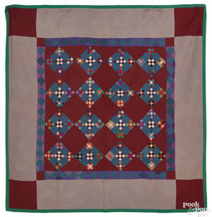 Lancaster County Pennsylvania Amish double ninepatch wool quilt ca 1920
