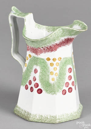Red and green spatterware pitcher 19th c