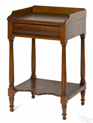 Pennsylvania Sheraton tiger maple work stand ca 1830