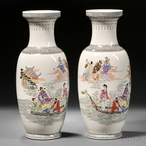Pair of Large Famille Rose Vases
