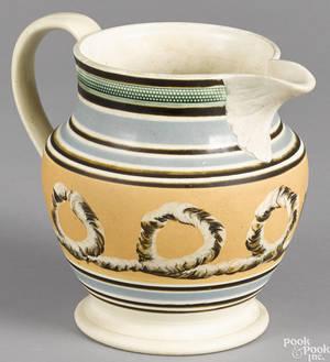Mocha earthworm pitcher 19th c