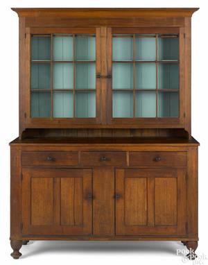 Pennsylvania walnut twopart Dutch cupboard ca 1830