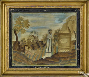 American silk chenille and paint on silk memorial needlework early 19th c