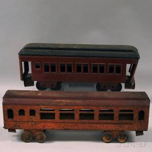 Two Painted Pressed Metal Passenger Train Cars