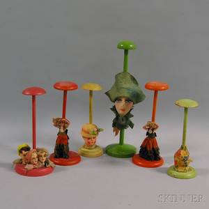 Six Paintdecorated Papiermache Doll and Doll Head Hat Stands