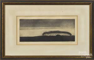 Engraved landscape