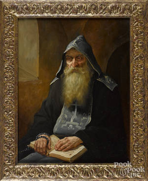 Contemporary oil on canvas of a Russian priest