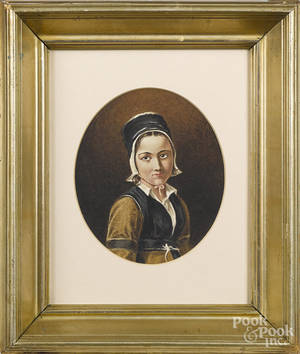 Continental watercolor portrait of a young woman
