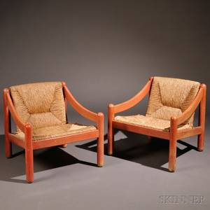 Pair of Vico Magistretti Carimate Fruitwood Lounge Chairs