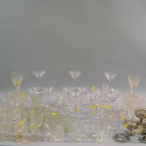 Approximately Eightyfour Pieces of Etched Stemware