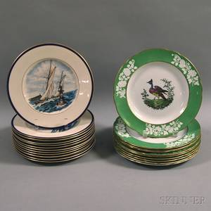 Set of Ten Copeland Spode Birddecorated Dinner Plates and a Set of Twelve Nauticalthemed Dinner Plates