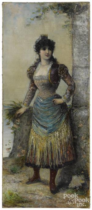 Oil on canvas of an Italian woman