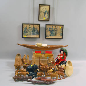 Large Group of Carved Wooden Items