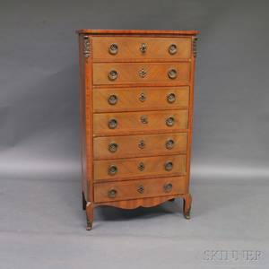 Louis XVstyle Walnut Veneer Sevendrawer Tall Chest