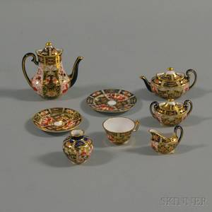 Eightpiece Miniature Royal Crown Derby Imari Palette Tea Set