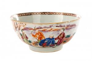 19th C Chinese Export Bowl Mandarin Style