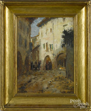 Italian oil on board street scene