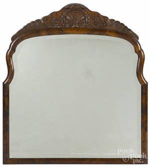 George III style burl veneer mirror