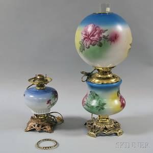Two Late Victorian Handpainted Kerosene Lamps