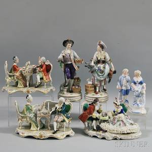 Seven European Porcelain Figures and Figural Groups