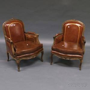 Pair of Louis XVstyle Leatherupholstered Oak Bergeres