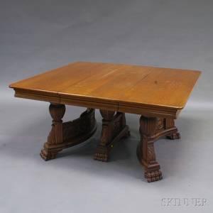 Renaissance Revival Oak Extension Dining Table