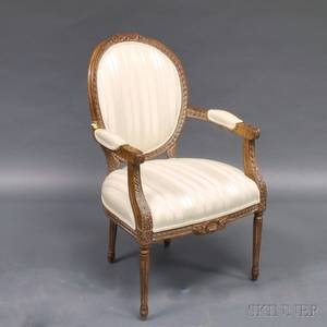Louis XVIstyle Walnut Fauteuil Armchair