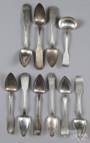 Coin silver serving spoons