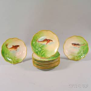 Set of Eleven Limoges Porcelain Fish Plates