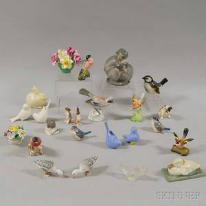 Approximately Twentyfour Ceramic and Glass Flower and Animal Figures