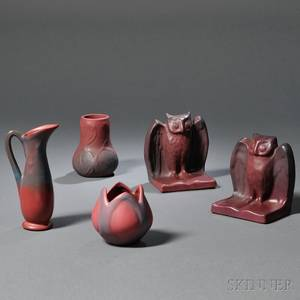 Five Pieces of Persian Rose Van Briggle Pottery