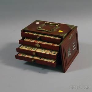 Bone Mahjong Set in Brassmounted Camphorwood Case