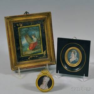 Three Framed Miniature Portraits of Women