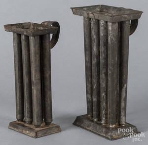 Two tin candlemolds