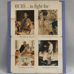 Three Norman Rockwell US WWII Freedoms Lithograph Posters