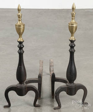 Pair of Federal style brass and iron andirons