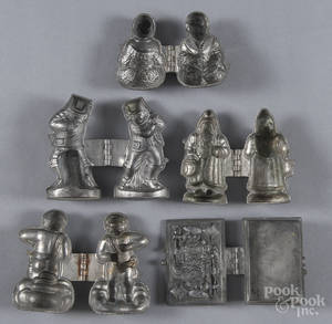 Five figural lead chocolate molds