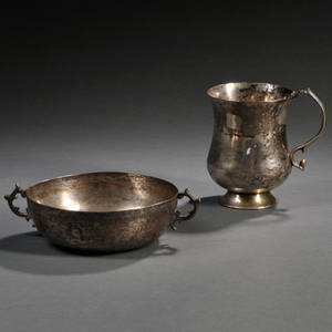 Two Pieces of Spanish Colonial Silver Tableware