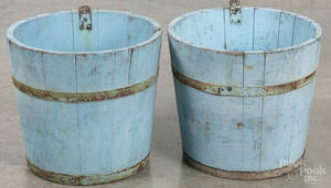 Two painted buckets in old blue paint