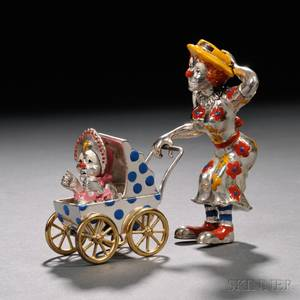 Tiffany  Co Sterling Silver and Enamel Clown Mother and Child