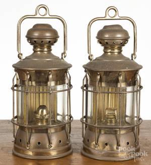 Two E Miller brass lanterns