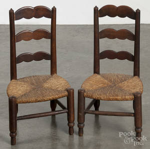 Pair of ladderback doll chairs