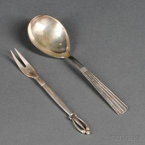 Two Danish Sterling Silver Serving Pieces