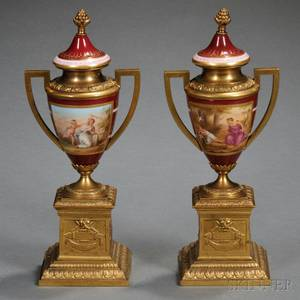 Pair of Giltbronze and Viennastyle Porcelain Vases