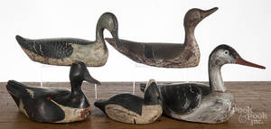 Five carved and painted duck decoys