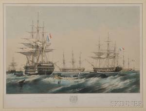 Thomas Goldsworth Dutton British b circa 18191891 After Oswald Walters Brierly British 18171894 Vessels of the French Imperi