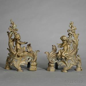 Pair of Figural Bronze Chenets